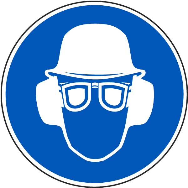 Wear Hard Hat Eye Ear Protection Label J6572 By Safetysign