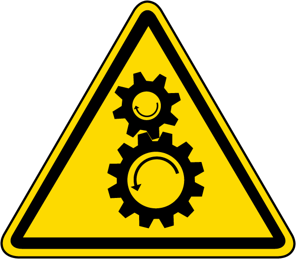 rotating gears warning label j6577 by safetysign com