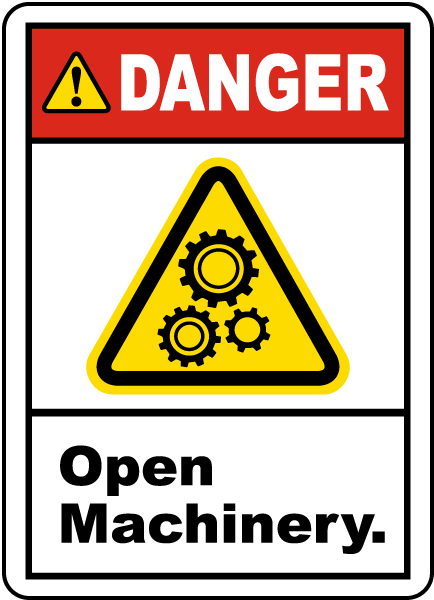 Danger Open Machinery Label J6714 By Safetysign