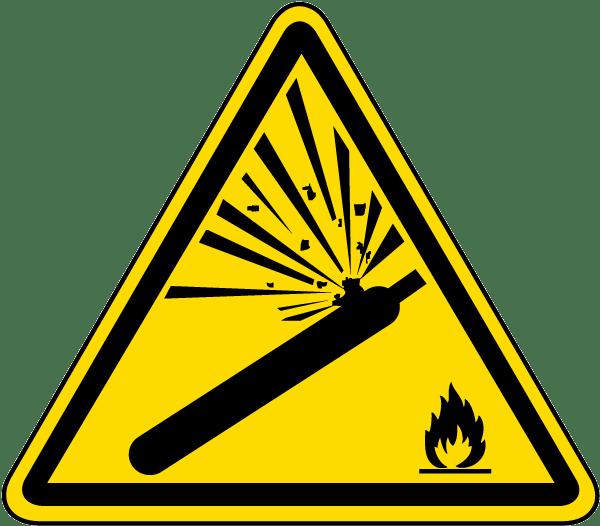 pressurized cylinder warning label j6810 by safetysign com