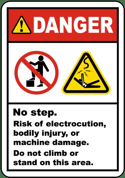 No Step Risk Of Electrocution Label J6839 By Safetysign Com
