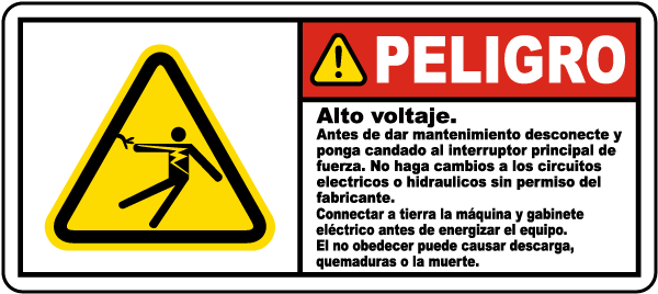 Spanish High Voltage Turn Off & Lock Out Main Power Label