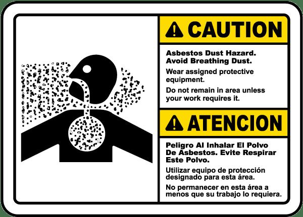 Bilingual Asbestos Dust Avoid Breathing Dust Sign K3648 ...