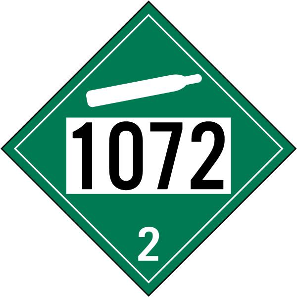 un # 1072 non-flammable gas class 6 placard k5700 -safetysign