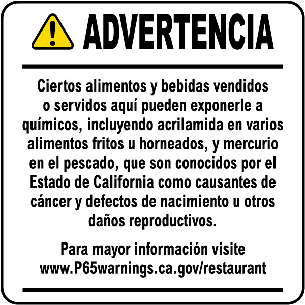 Spanish Food And Non Alcoholic Beverage Exposure Warning Point Of