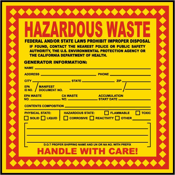 california hazardous waste label - Hazardous Waste Labels