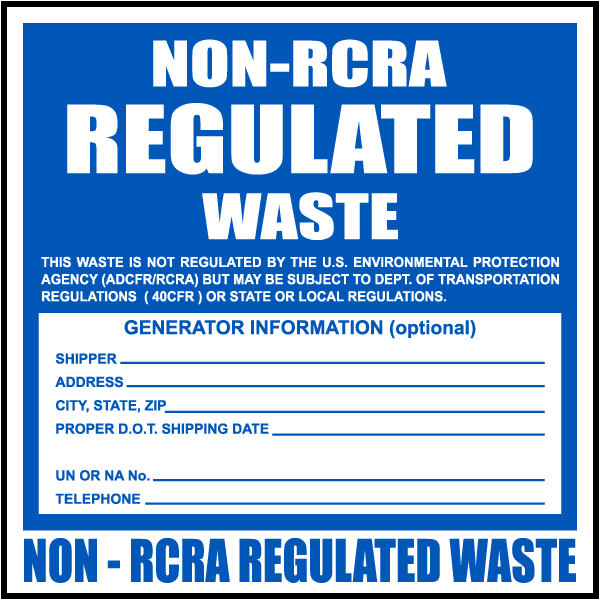 photo regarding Free Printable Hazardous Waste Labels titled Non-RCRA Controlled Squander Label