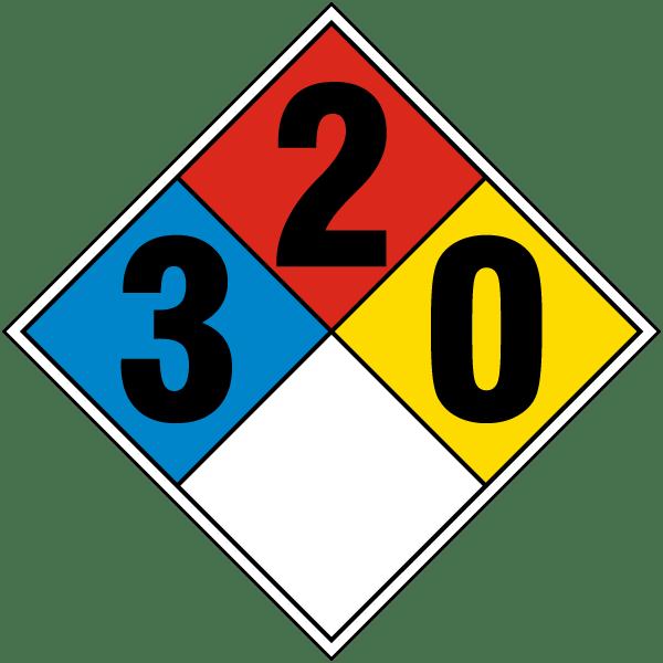 Hazard Diamond: NFPA Diamond Rating 3-2-0 By SafetySign.com