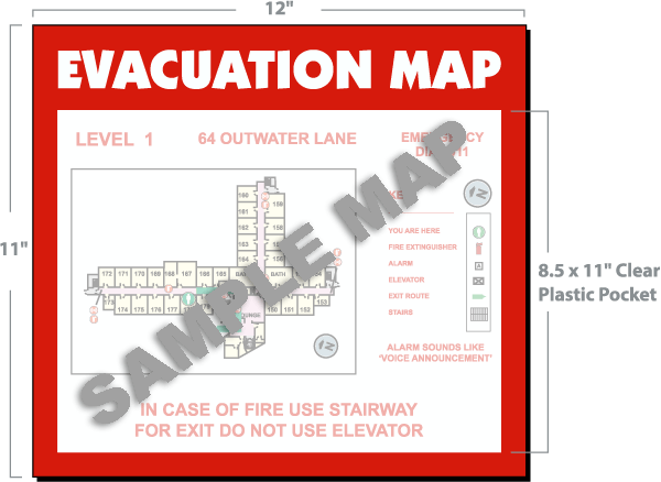 Lane Fire Map.Evacuation Map Holder Map01 By Safetysign Com