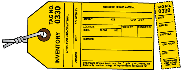 Yellow Inventory Tag N3593 - by SafetySign.com