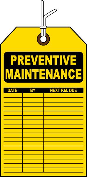 preventative maintenance tag