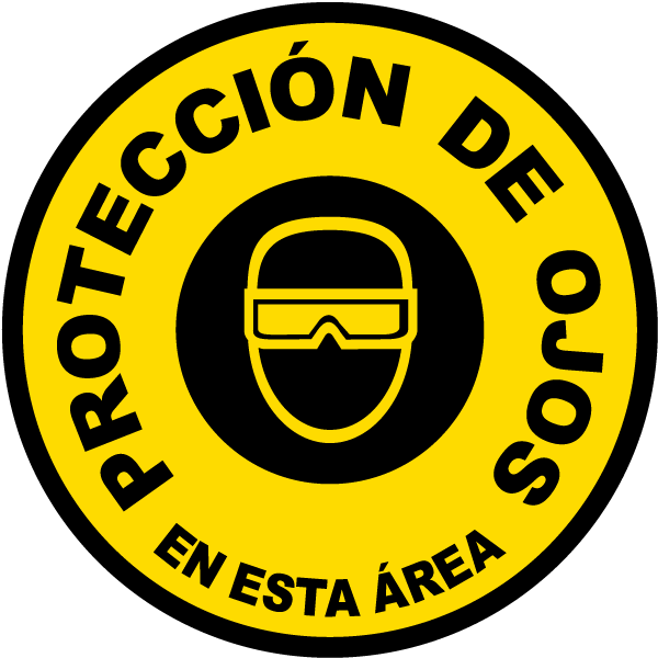 Spanish Eye Protection Area Floor Sign P4301sp By Safetysign
