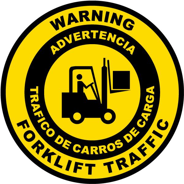 Bilingual Warning Forklift Traffic Floor Sign