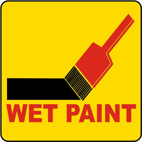 Item R1481 Label Reads Wet Paint Design Brush Symbol Compliance