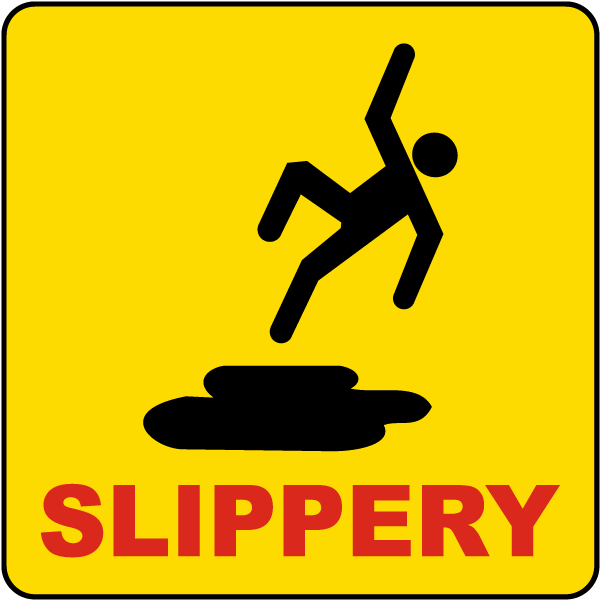 Caution: Slippery Floor with Icon Portrait - Wall Sign