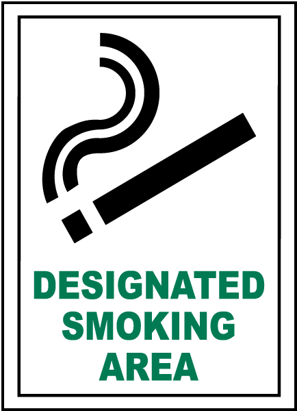 Designated Smoking Area Sign R5322 - by SafetySign.com