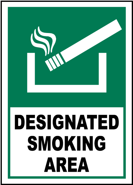 Designated Smoking Area Sign R5414 - by SafetySign.com
