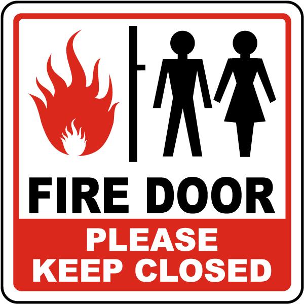 fire door please keep close sign