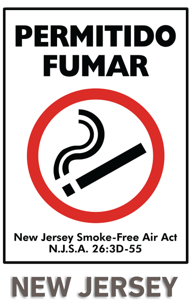 Spanish New Jersey Smoking Permitted Sign