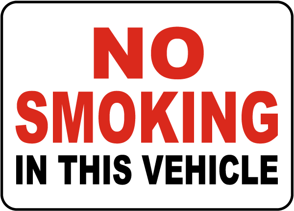 No Smoking In This Vehicle Label