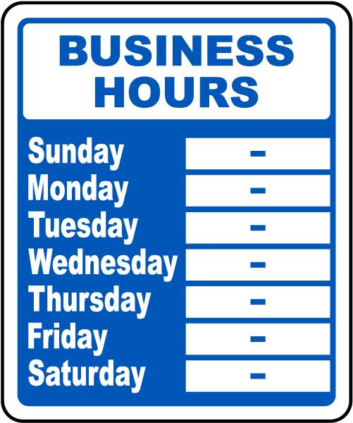 business hours sign r5513 by. Black Bedroom Furniture Sets. Home Design Ideas
