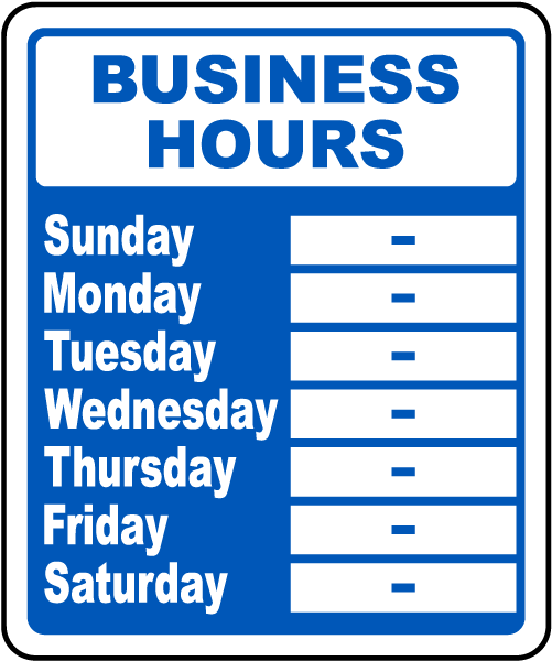 Refreshing image inside printable business hours sign