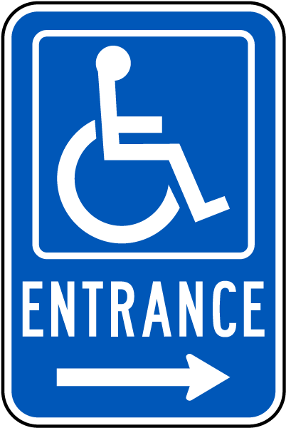accessible entrance sign right arrow t4545 by safetysign com