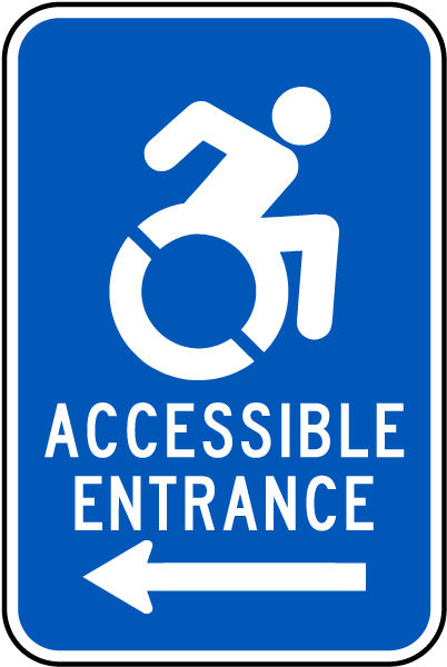 accessible entrance sign left arrow t4605 by safetysign com