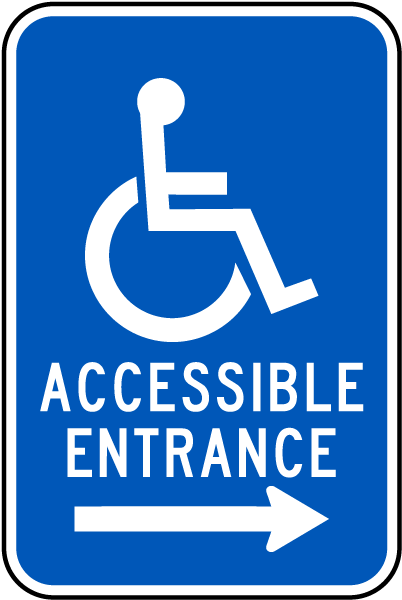 accessible entrance sign right arrow t4631 by safetysign com