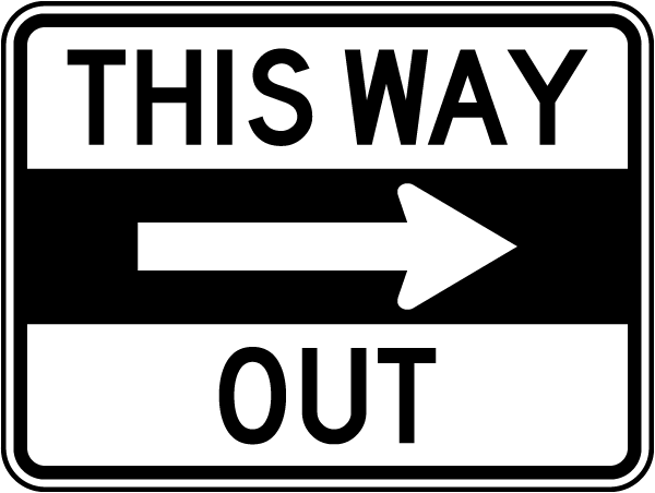 This Way Out (Right Arrow) Sign T5266 - by SafetySign.com