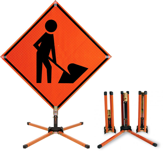 Traffix roll up road construction sign stand x4580 by for Construction stand