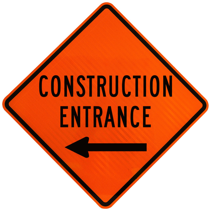 Construction Entrance Sign with Left Arrow X4608, by ...