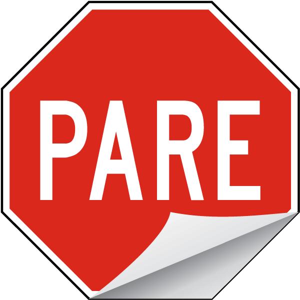 Spanish Stop Label