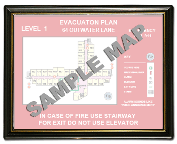 8 1 2 x 11 plastic evacuation map holder vc2 by safetysign com