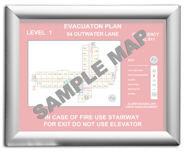 8 1 2 x 11 aluminum evacuation map holder vc1 by safetysign com