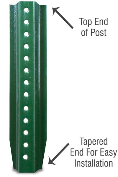 Green Enamel and Galvanized U-Channel Posts