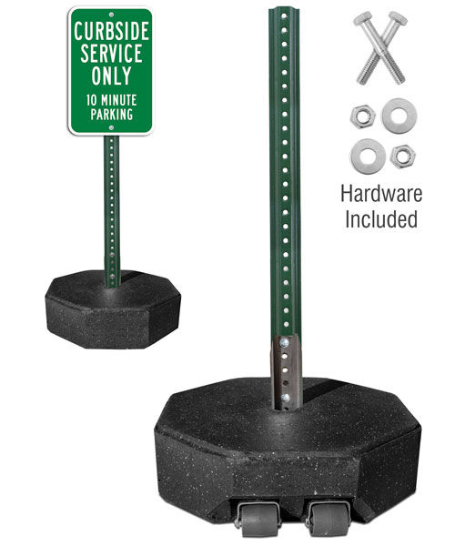 60 lb. Portable Sign Stand with 5' PVC or 6' U-Channel Post