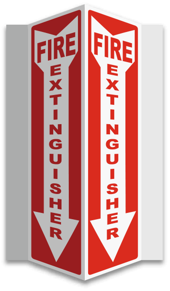 Fire Extinguisher 3-Way Sign