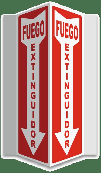 Spanish 3-Way Fire Extinguisher Sign