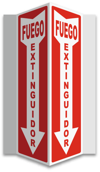 Spanish 3-Way Fire Extinguisher Sign
