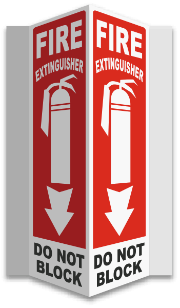 Fire Extinguisher Do Not Block 3-Way Sign