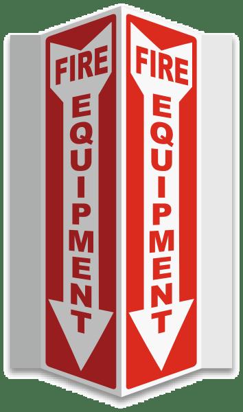 Fire Equipment 3-Way Sign
