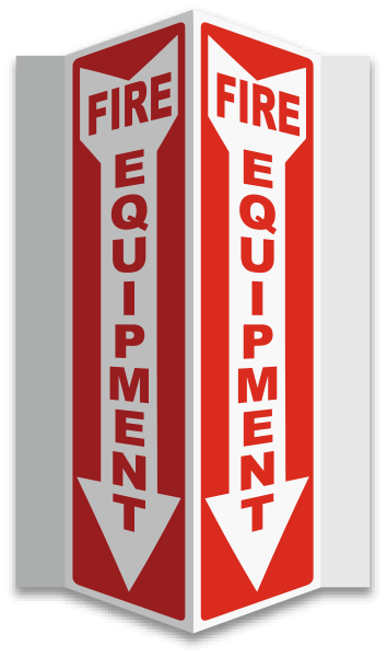 Fire Equipment 3-Way Sign