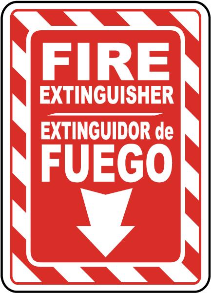 Bilingual Fire Extinguisher Sign