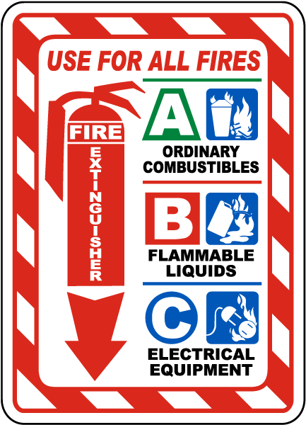 Fire Extinguisher Use on All Fires Sign