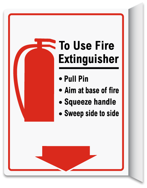 How To Use Fire Extinguisher 2-Way Sign