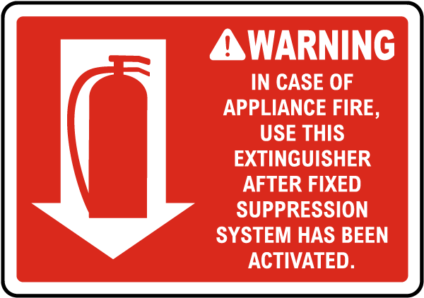 Warning In Case of Appliance Fire Sign