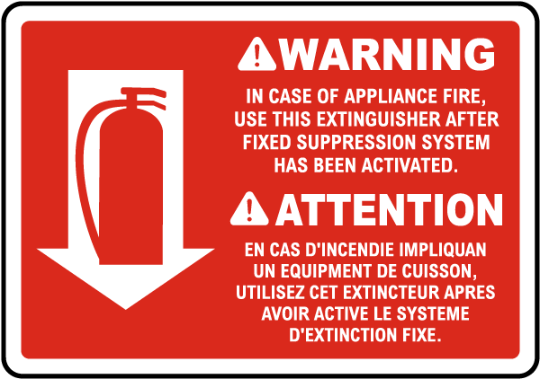 Bilingual Warning In Case of Appliance Sign