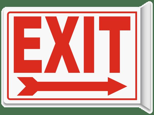 Exit (Right Arrow) 2-Way Sign