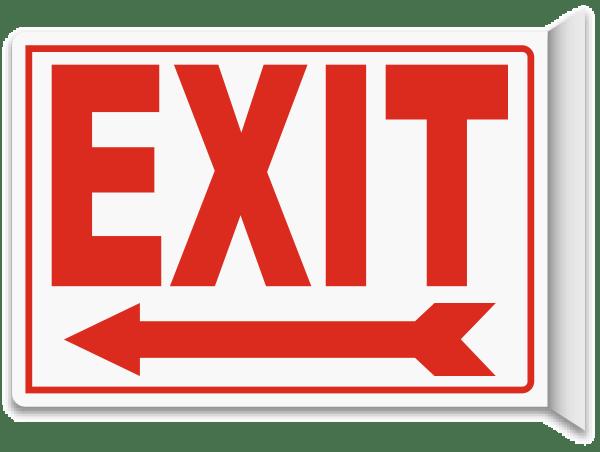 Exit (Left Arrow) 2-Way Sign